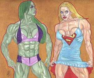 She-Hulk and Supergirl by CanCerX