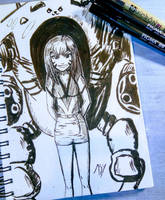 D.Va and her mech - My first ink drawing by abysan
