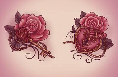 Lock and key tattoo design by XxMortanixX