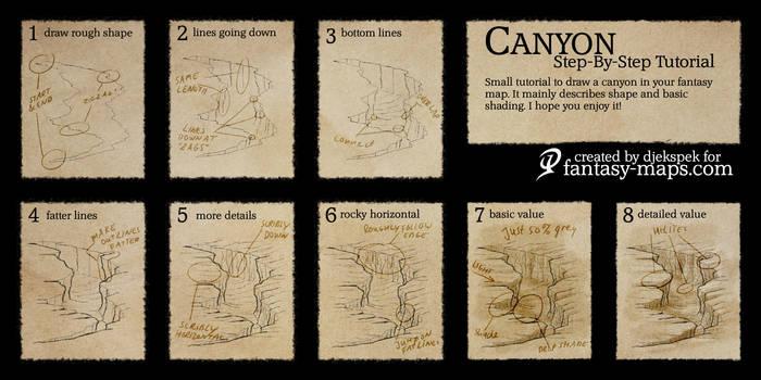 Fantasy map - Step by step tutorial - Canyon by Djekspek