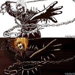 Ghost Rider - Inks vs Colors by Dragonlord42