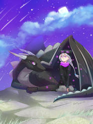Enderman and Dragon Minecraft by deerfox-art