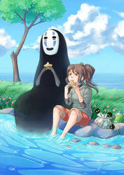 Chihiro and No-Face by deerfox-art
