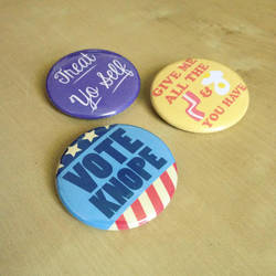 Parks and Recreation Inspired Buttons by Monostache