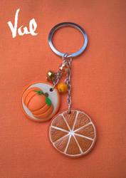 Orange-pumpkin keychain by Valkyrie-21