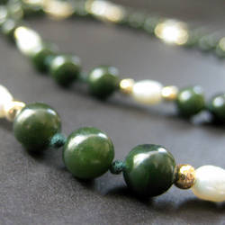 Elegance in Jade and Pearls by Gilliauna
