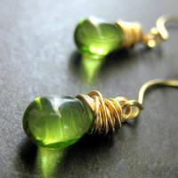 Green Glass Teardrop Earrings by Gilliauna