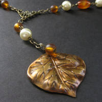 Carnelian Autumn Leaf Necklace by Gilliauna