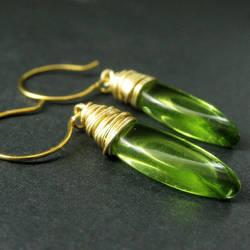 Green Elliptical Earrings by Gilliauna