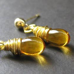 Honey Amber Wire Wrap Earrings by Gilliauna