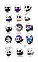 Savagetale Sans AUs [Part 1] (head doodles) by Pinkapop