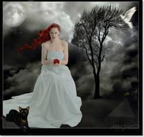 Roses and one dark tree by JamesonAnna