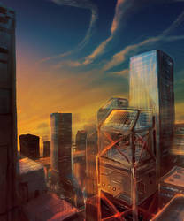 Cityscape perspective by Kamikaye