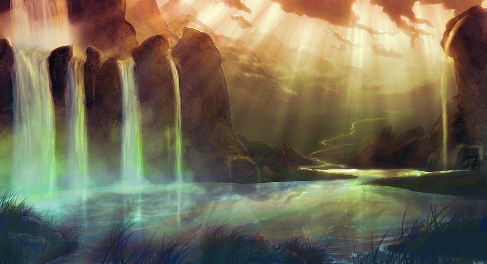 Tranquil Waterfalls by Kamikaye