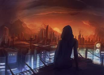 Scifi City Sunset by Kamikaye