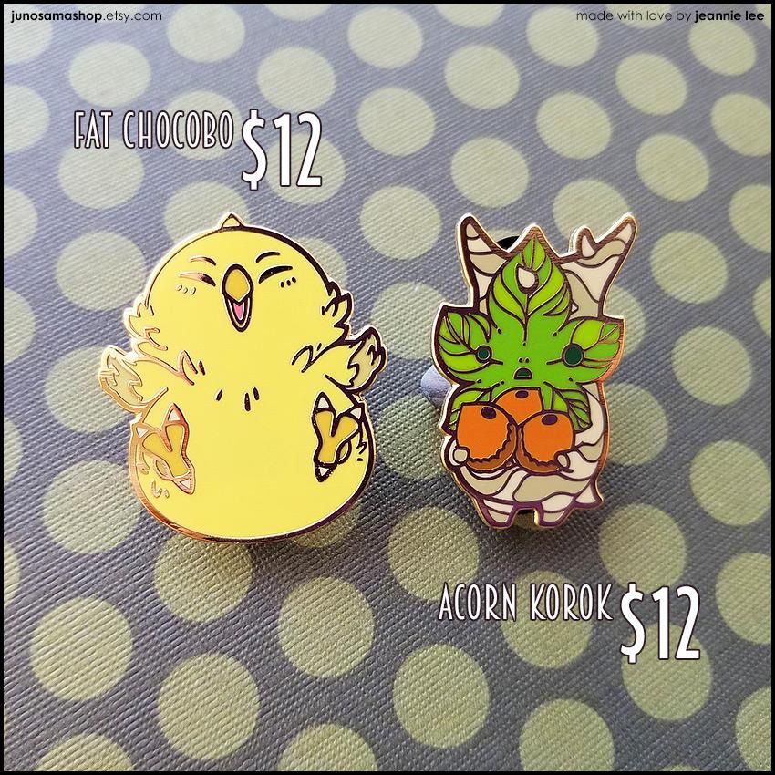 My first enamel pins! by junosama