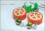 Fruit: Orange Slice Earrings 1 by junosama