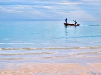 Two men in a boat by peterpateman