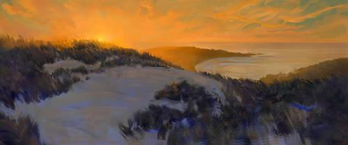 beach sunset by iatemypencils