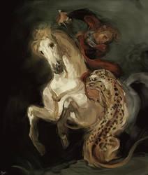Jaguar Attacking a Horseman by LhuneArt