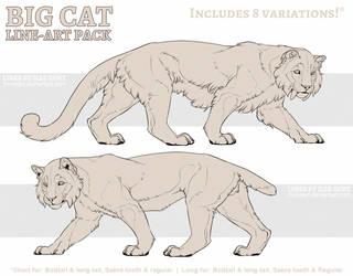P2U: Big Cat Line-art Pack by LhuneArt