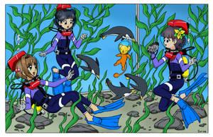 Sakura and Friends with Penguins by The-Sakura-Samurai
