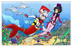 Mokou: The LAMA Mermaid Diver - Color Commission by The-Sakura-Samurai