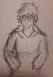 My persona but as a boi (sketch) by Aquastal