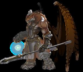 Brown Dragonborn Warmage by Hyfigh