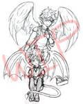 WIP2 - Angel Bya and Demon Tsu by JirachiAtSundown