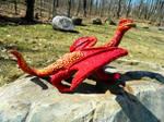Red Desert Dragon Side View by MsMergus