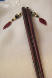 Hairsticks with black agate and red enamel by ErrantDreams