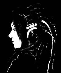 Headphones: Version Monochrome by leiana