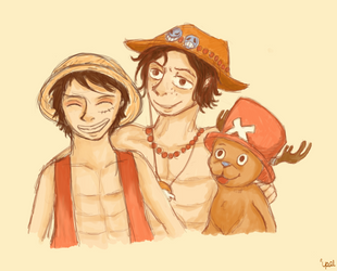 Ace Luffy And Chopper by BoogieSnail