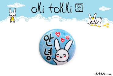 Hello in Korean Bunny Button by okitokki