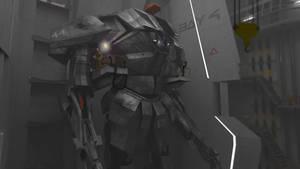 Close combat Mech 'Silverback' In Hangar by scifieart10000