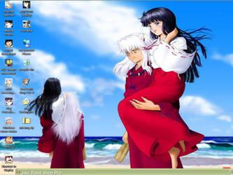 InuYasha and Kikyou desktop by Inu-Kikyou