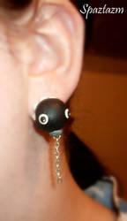 chain chomp bite me earrings by spaztazm