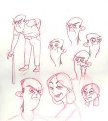 Elderly Drakken and Shego Doodles by oldandnewfirm