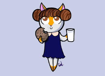 Cookie the Cat eating a cookie by CassLBrown