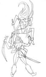 Psylocke versus Spiral Sketch by CassLBrown