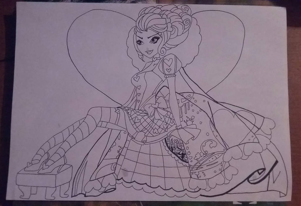 Lizzie Hearts lineart by AnaScarlet