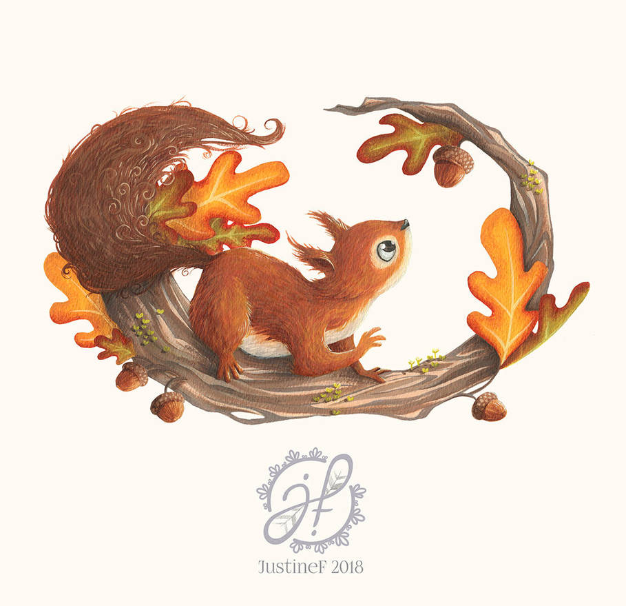Squirrel and the autumn meal by JustineF-Illustrator