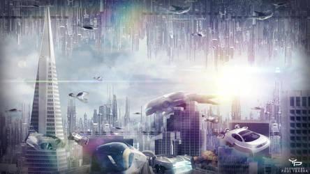 Futuristic-City Wallpaper by ybarrapaul