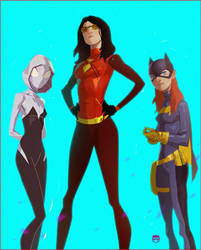 Spiderwoman,Batgirl and Gwen by CoranKizerStone