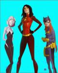 Spiderwoman,Batgirl and Gwen by CoranKizerStone