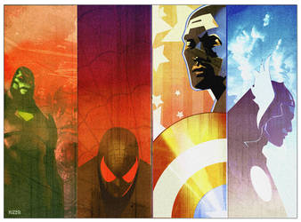 CAP, Spidey, Ironman,Thor by CoranKizerStone