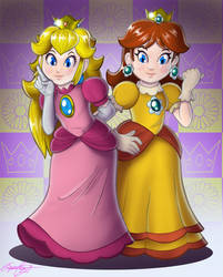 Peach and Daisy by faynster