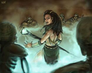Surrounded Sorceress by crashhappy
