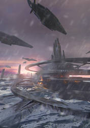 Science fiction scene in the snow by JUNLING